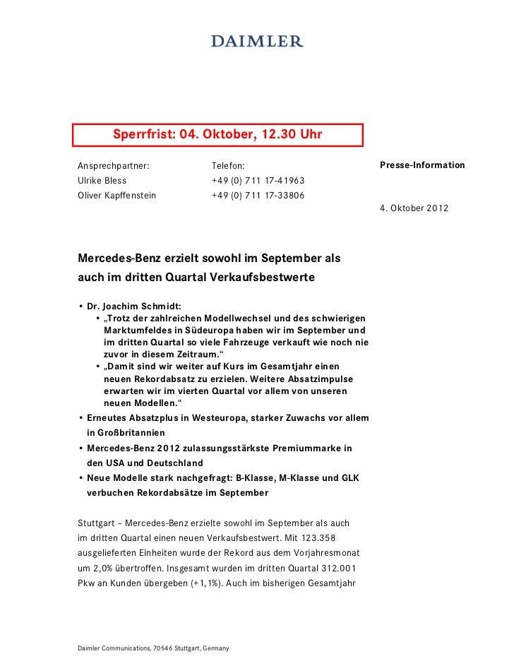 Sperrfrist: 04. Oktober, 12.30 UhrAnsprechpartner:                          Telefon:                  Presse-InformationUl...