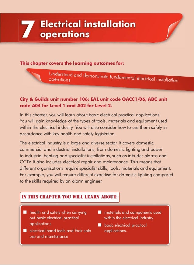 7          Electrical installation           operationsThis chapter covers the learning outcomes for:                Under...