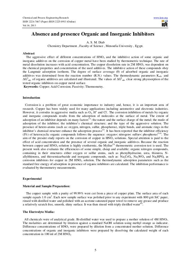 Chemical and Process Engineering Research ISSN 2224-7467 (Paper) ISSN 2225-0913 (Online) Vol.16, 2013  www.iiste.org  Abse...