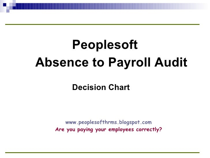 Absence to Payroll Audit Decision Chart Peoplesoft www.peoplesofthrms.blogspot.com Are you paying your employees correctly?