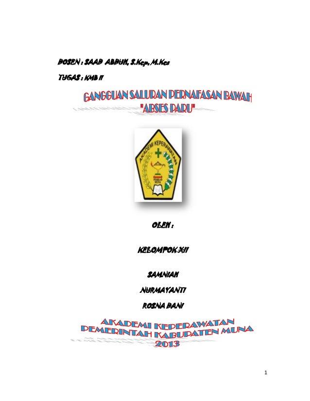 DOSEN : SAAD ABDUH, S.Kep, M.Kes TUGAS : KMB II  OLEH : KELOMPOK XII SAMNIAH NURMAYANTI ROSNA DANI  1