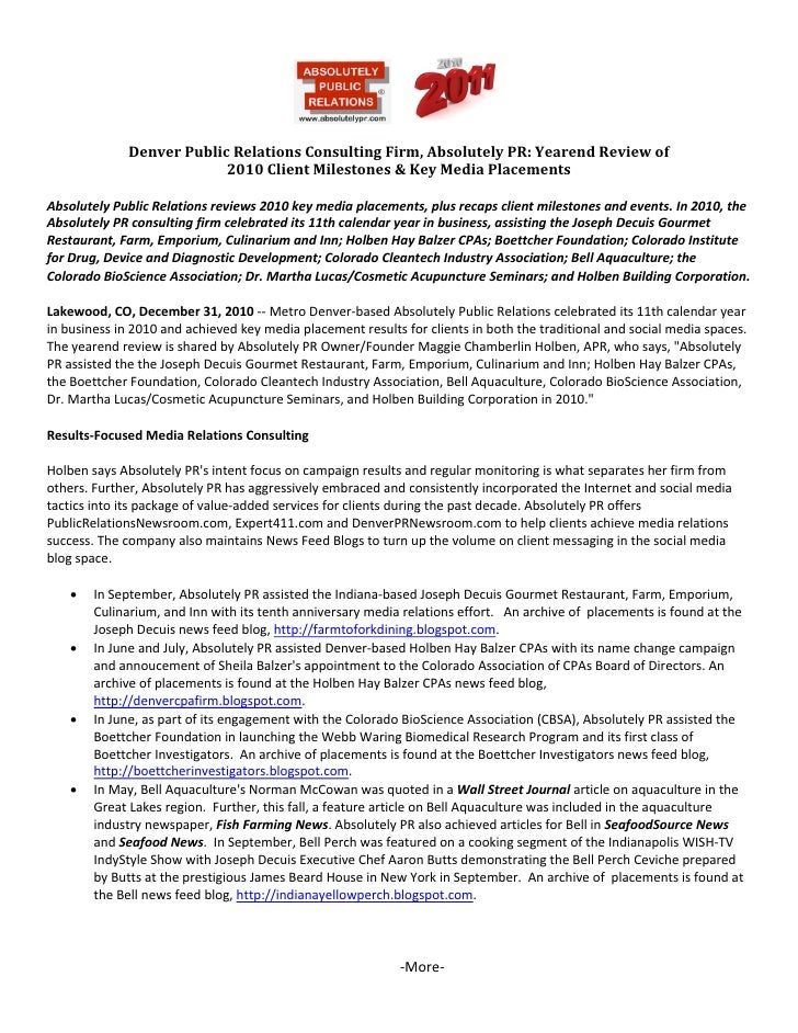 Denver Public Relations Consulting Firm, Absolutely PR: Yearend Review of 2010 Client Milestones & Key Media Placements