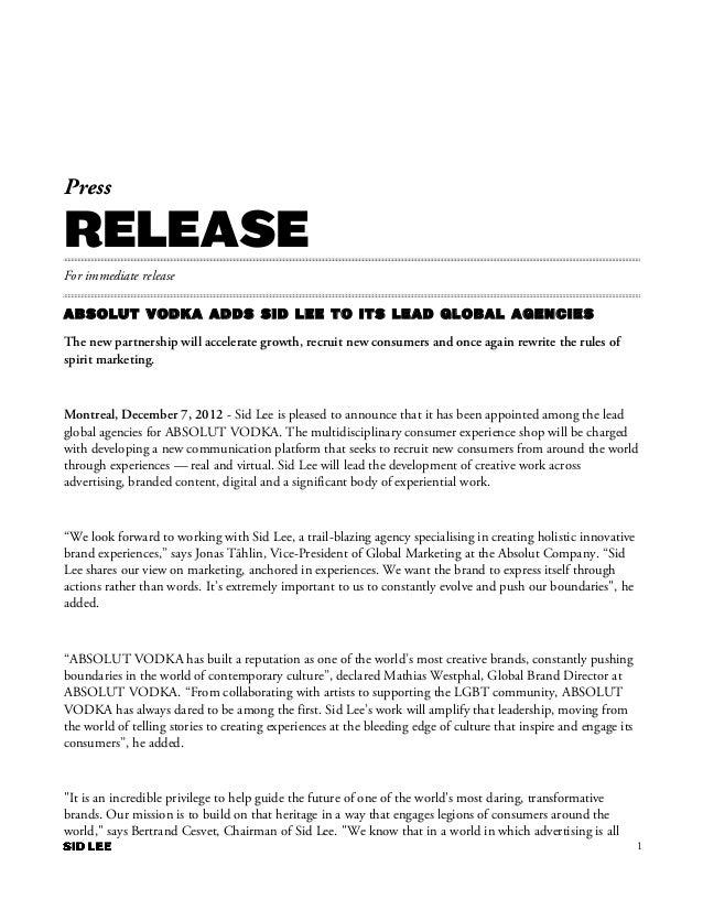 SID LEE | PRESS RELEASE | ABSOLUT VODKA 2012