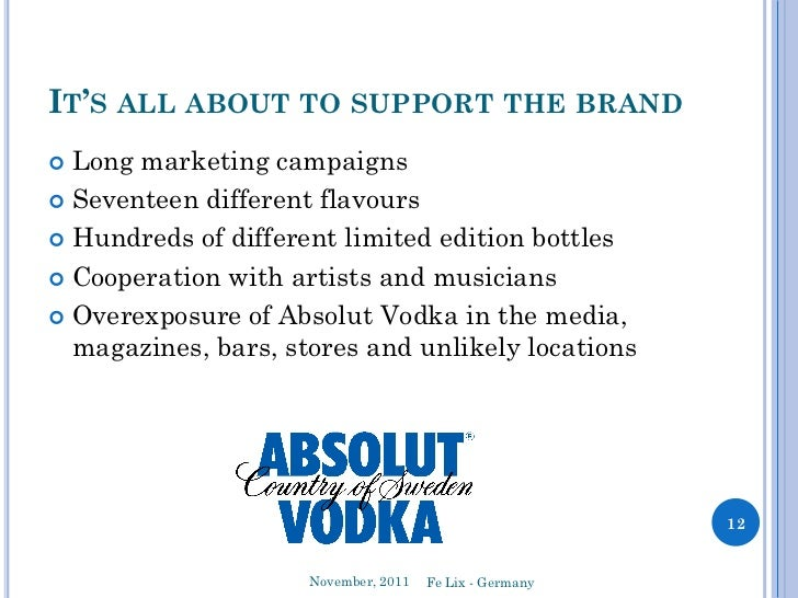 the different strategies of absolut vodka in their advertisements Start studying advertising chap 8 learn vocabulary,  -inspire consumers with ideas that will change their life  -absolut vodka.