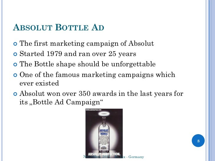 absolute vodka marketing plan Absolut vodka campaigns make a vodka an image bearing alcohol, which explains its success and make it an object of worship the brand combines a trendy name and works of modern art, more than five hundred artists took part in the experience of absolut vodka, the brand use innovative approach « marketing as art.