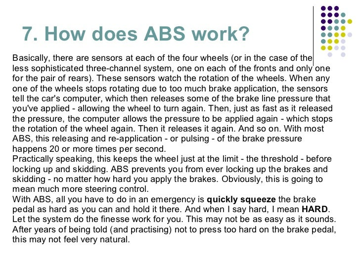 an overview of the abs or anti lock braking system