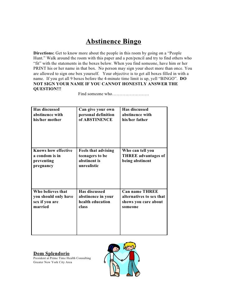 """Abstinence Bingo Directions: Get to know more about the people in this room by going on a """"People Hunt."""" Walk around the r..."""