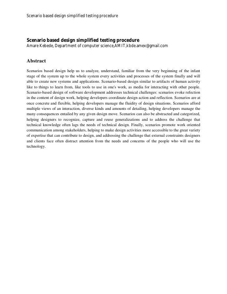Scenario based design simplified testing procedureScenario based design simplified testing procedureAmare Kebede, Departme...