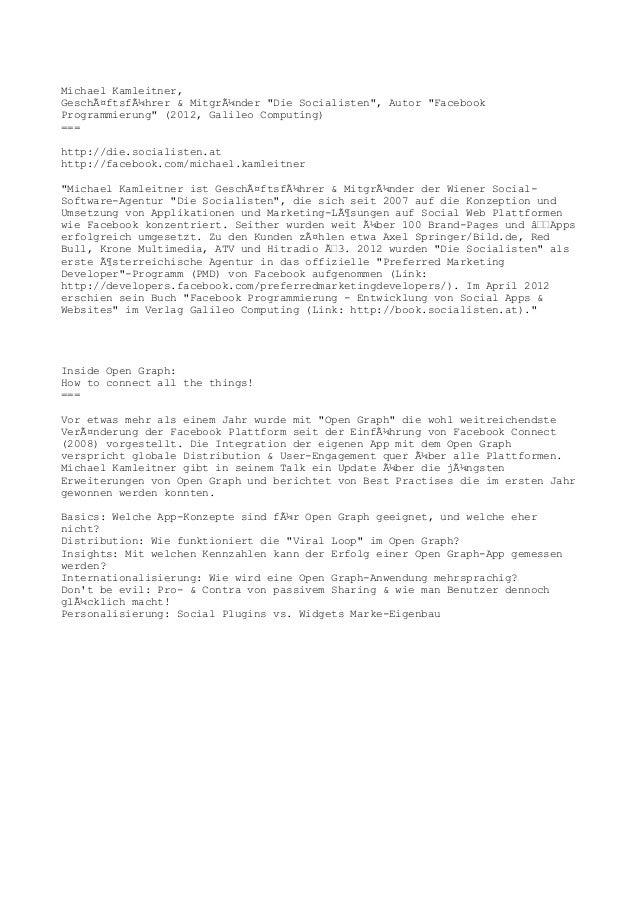 """Michael Kamleitner,Geschäftsführer & Mitgründer """"Die Socialisten"""", Autor """"FacebookProgrammierung"""" (2012, Galileo Comput..."""
