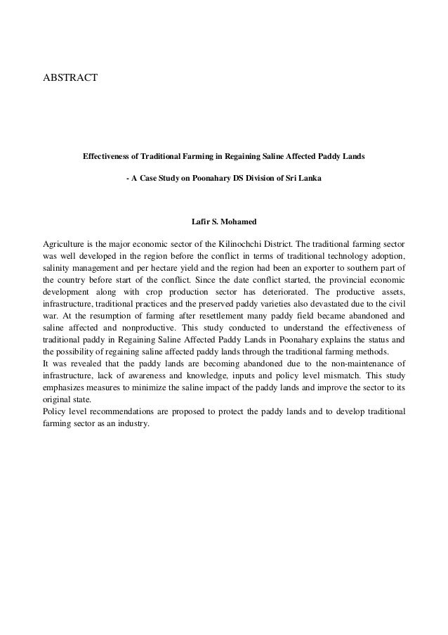 ABSTRACT  Effectiveness of Traditional Farming in Regaining Saline Affected Paddy Lands - A Case Study on Poonahary DS Div...