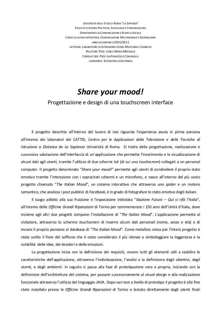 """UNIVERSITÀ DEGLI STUDI DI ROMA """"LA SAPIENZA""""                                   FACOLTÀ DI SCIENZE POLITICHE, SOCIOLOGIA E ..."""