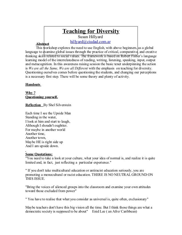 Teaching for DiversitySusan Hillyardhillyard@ciudad.com.arAbstractThis workshop explores the need to use English, with abo...