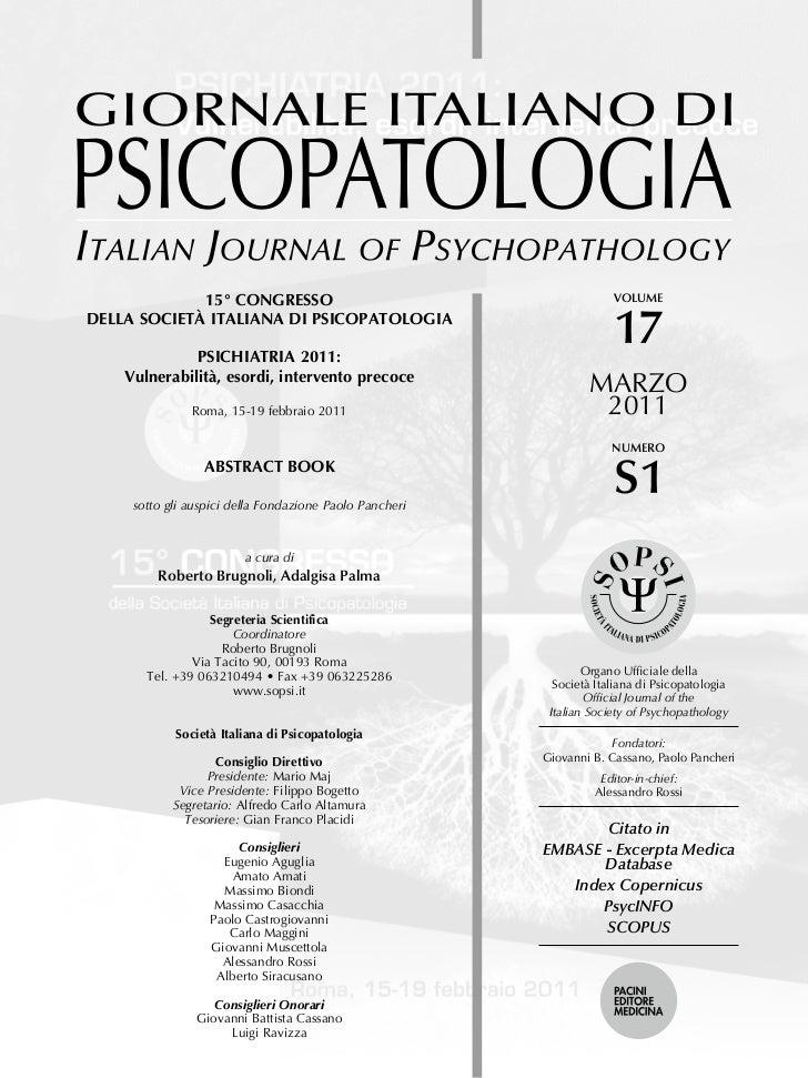 15 congresso della societ italiana di psicopatologia