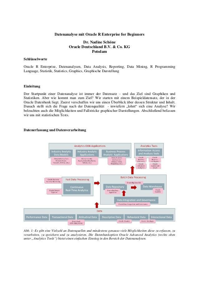 Datenanalyse mit Oracle R Enterprise for Beginners Dr. Nadine Schöne Oracle Deutschland B.V. & Co. KG Potsdam Schlüsselwor...