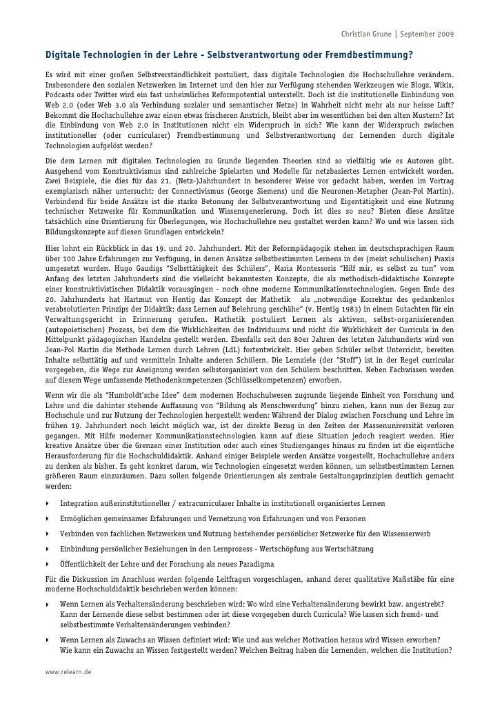 Christian Grune | September 2009  Digitale Technologien in der Lehre - Selbstverantwortung oder Fremdbestimmung? Es wird m...