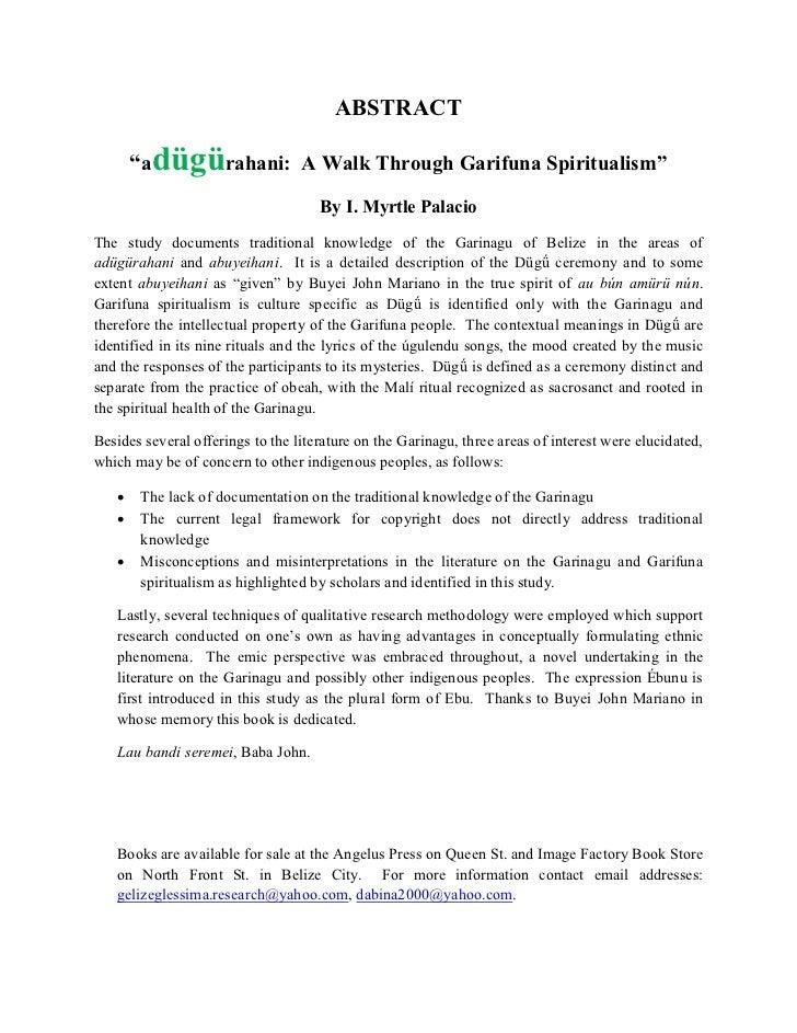 "ABSTRACT       ""adügürahani: A Walk Through Garifuna Spiritualism""                                     By I. Myrtle Palaci..."