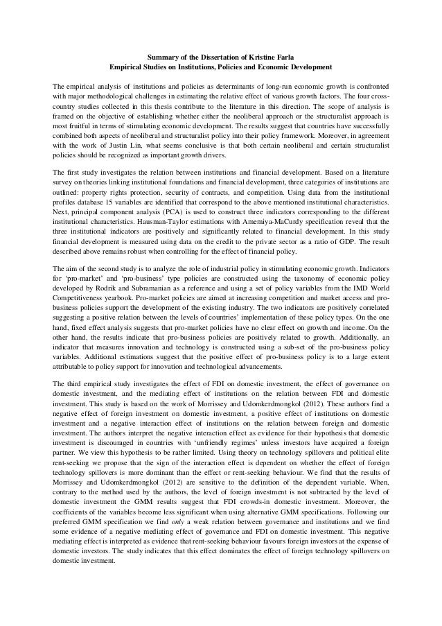 Summary of the Dissertation of Kristine Farla Empirical Studies on Institutions, Policies and Economic Development The emp...