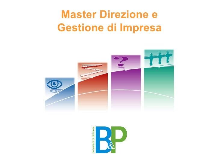 Master Direzione e Gestione di Impresa