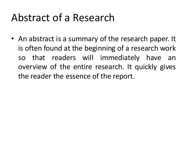 The Abstract - Organizing Your Social Sciences Research