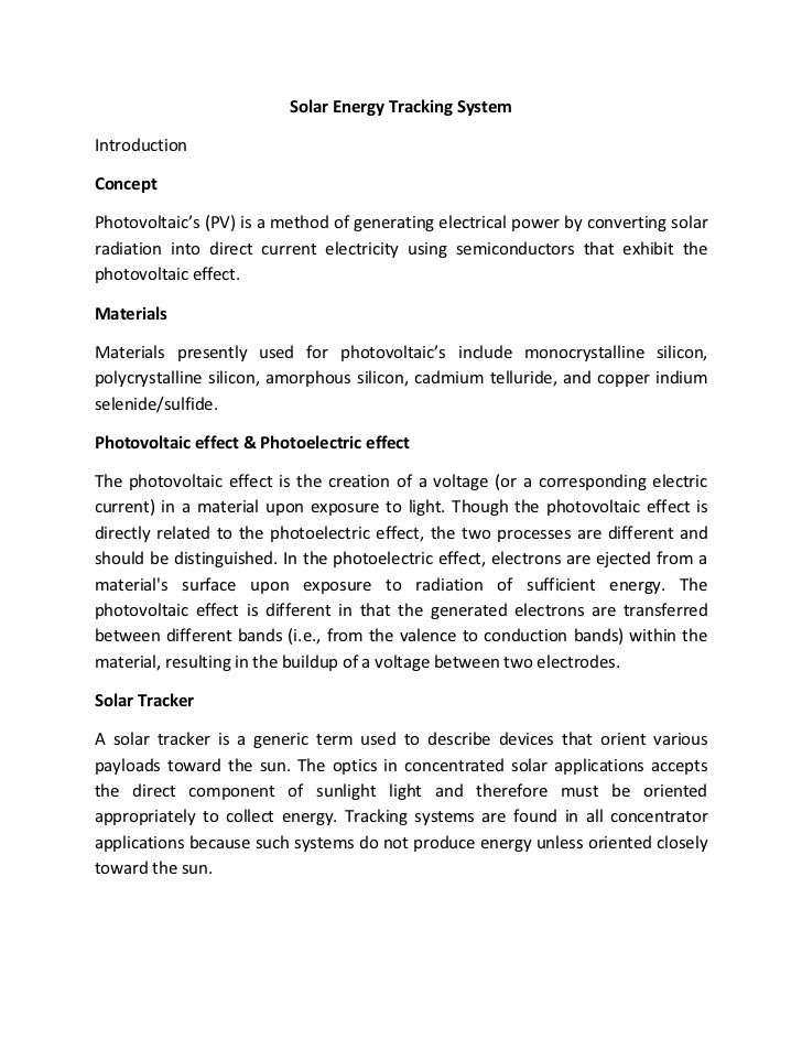 Abstract On Solar Energy Tracking System