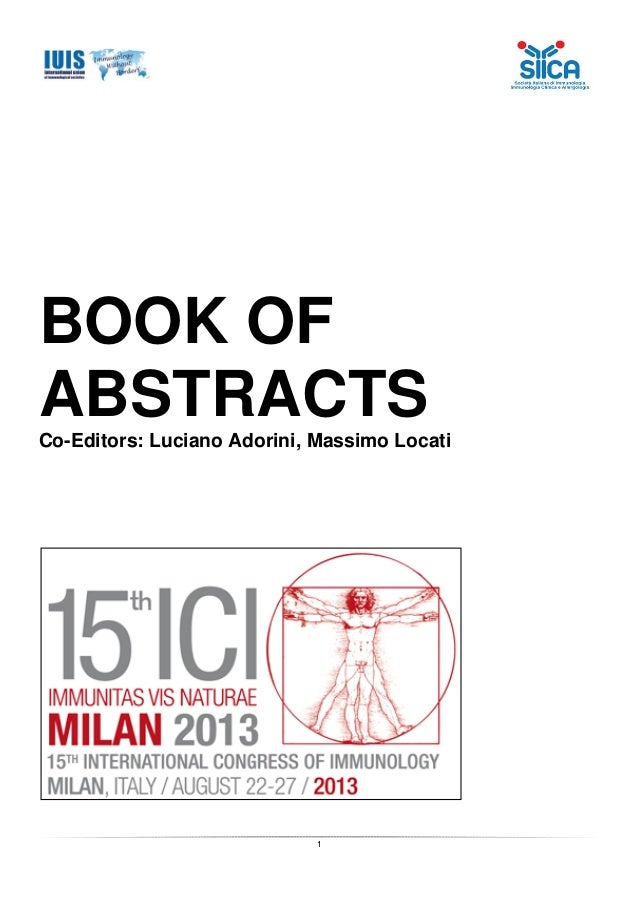 Abstract Book of The 15th International Congress of Immunology, Milan, Italy, 22-27 August 2013