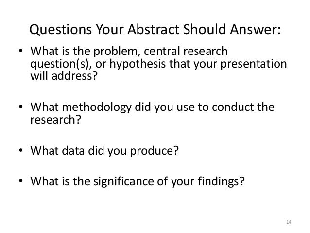 What should be included in an abstract