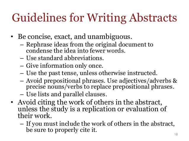 how to write an abstract 1