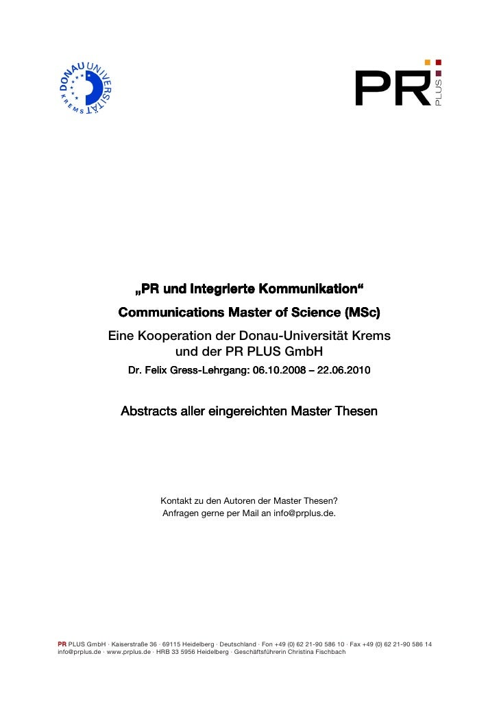 "Kommunikation""                          ""PR und Integrierte Kommunikation""                    Communications Master of Sci..."
