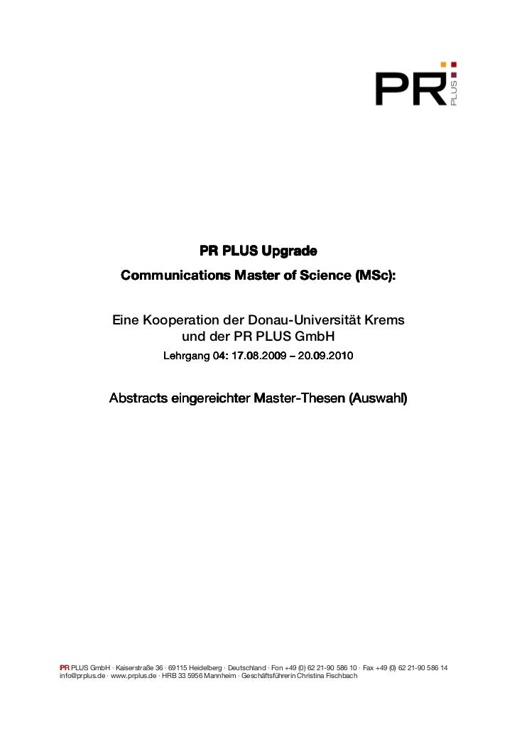 PR PLUS Upgrade                   Communications Master of Science (MSc):                Eine Kooperation der Donau-Univer...