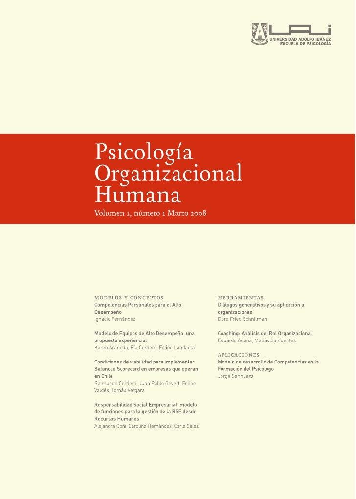 Abstracts Revista Psicología Organizacional Humana Nº 1