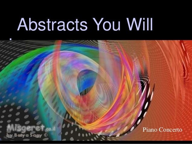 Abstracts You Will Love Piano Concerto