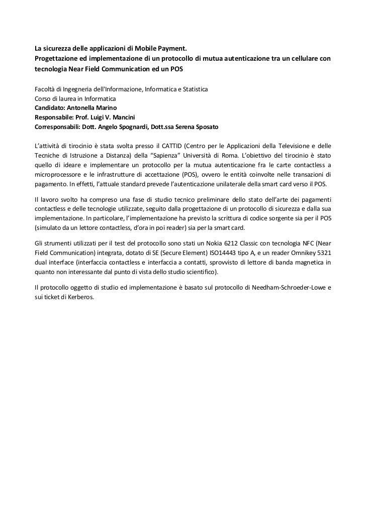 La sicurezza delle applicazioni di Mobile Payment(abstract)_Antonella Marino