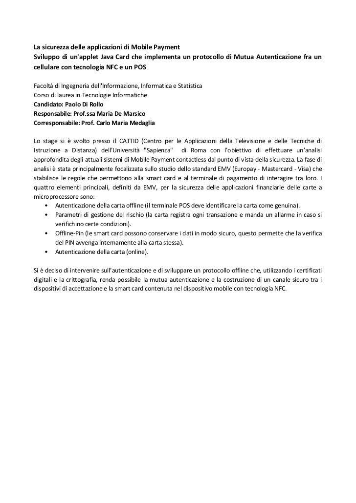 La sicurezza delle applicazioni di Mobile Payment(abstract)_Paolo Di Rollo