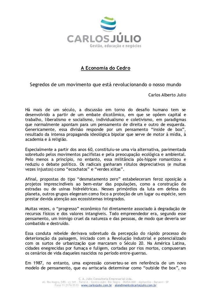 Abstrato do Livro de Carlos Julio - A Economia do Cedro