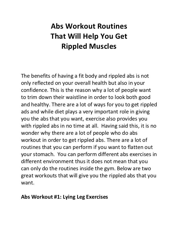 Abs Workout Routines             That Will Help You Get                Rippled MusclesThe benefits of having a fit body an...