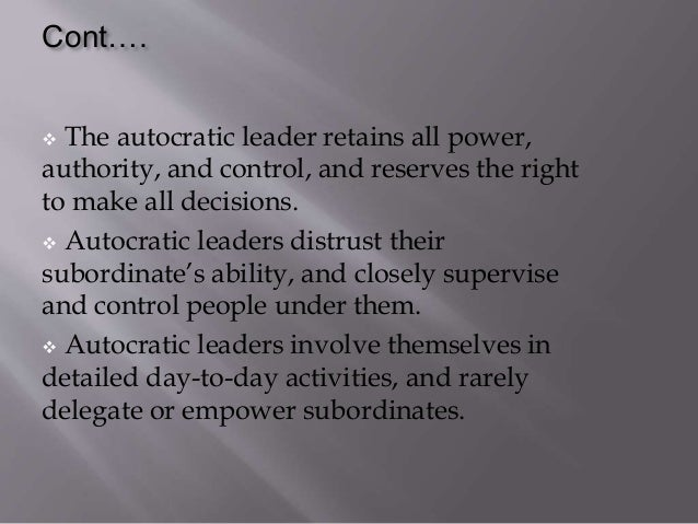 advantage of autocratic leadership style Advantages and disadvantages of autocratic leadership  unit 1 autocratic leadership what is autocratic leadership - autocratic leaders make decisions without consulting their team members, even if their input would be useful this can be appropriate when you need to make decisions quickly, when there's no need for team.
