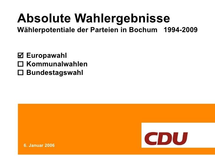Absolute Wahlergebnisse Wählerpotentiale der Parteien in Bochum  1994-2009   Europawahl   Kommunalwahlen   Bundestagswa...