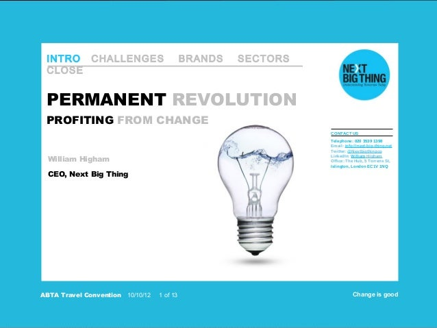 INTRO CHALLENGES                             BRANDS   SECTORS CLOSE PERMANENT REVOLUTION PROFITING FROM CHANGE            ...