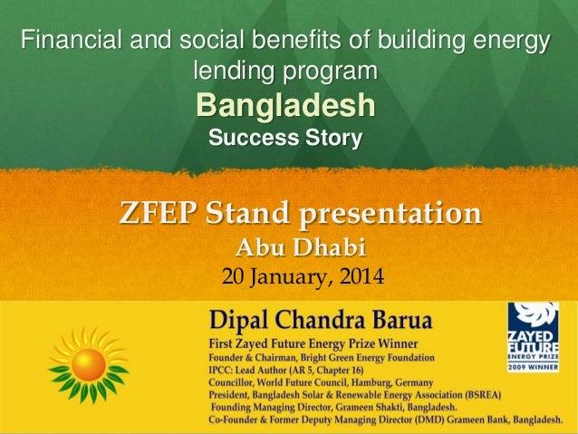 Financial and social benefits of building energy lending program  Bangladesh Success Story  ZFEP Stand presentation Abu Dh...