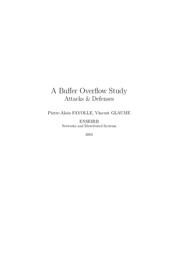A buffer overflow study   attacks and defenses (2002)