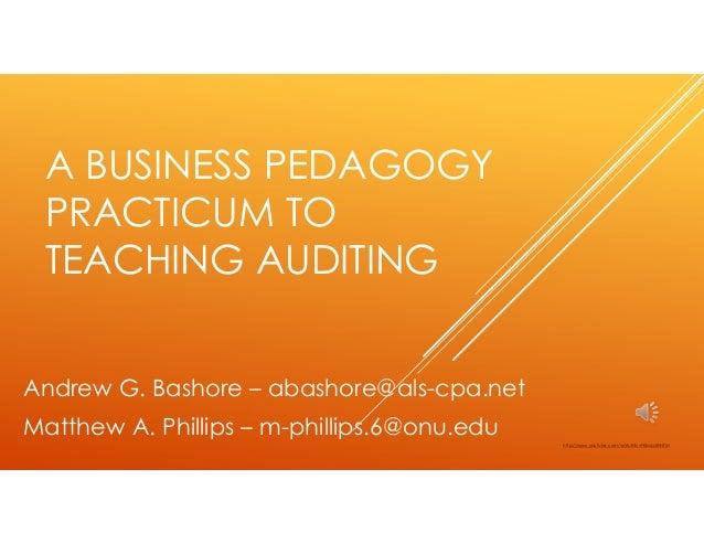A business pedagogy practicum to teaching auditing