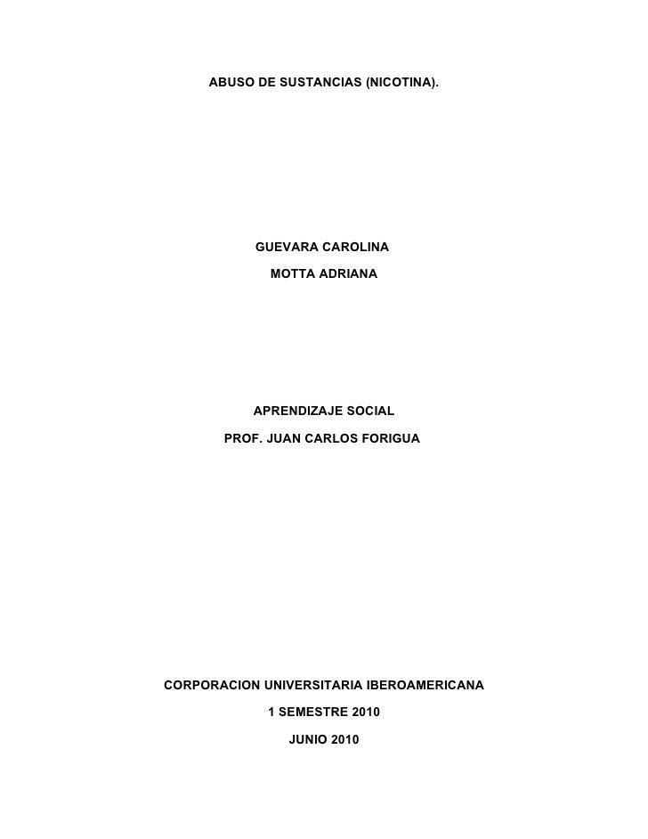 ABUSO DE SUSTANCIAS (NICOTINA).                GUEVARA CAROLINA               MOTTA ADRIANA                APRENDIZAJE SOC...