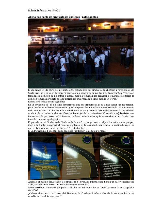 Estudiantes denuncias Abuso por parte de Sindicato de Choferes Profesionales en Santa Cruz
