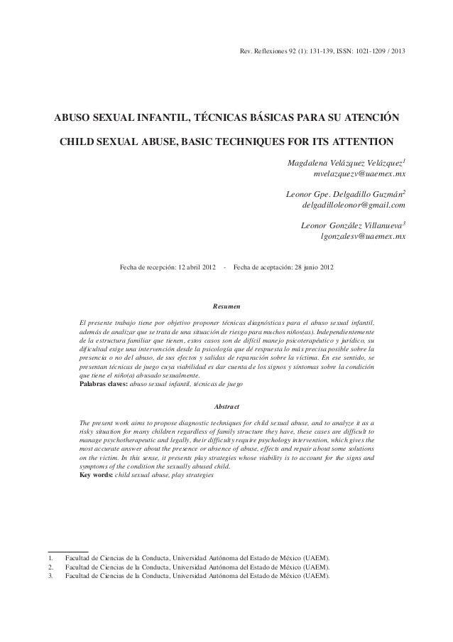 Rev. Reflexiones 92 (1): 131-139, ISSN: 1021-1209 / 2013 ABUSO SEXUAL INFANTIL, TÉCNICAS BÁSICAS PARA SU ATENCIÓN CHILD SE...
