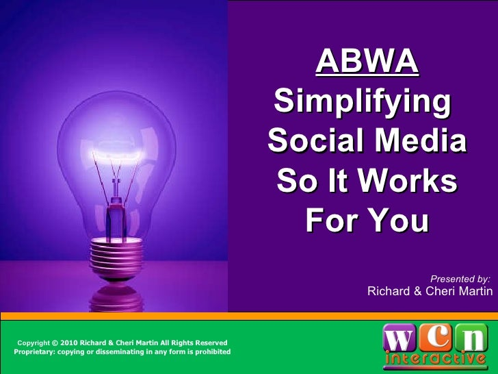 <ul><li>Item 1 </li></ul><ul><ul><li>Item 2 </li></ul></ul>Sidebar info here ABWA Simplifying  Social Media So It Works Fo...