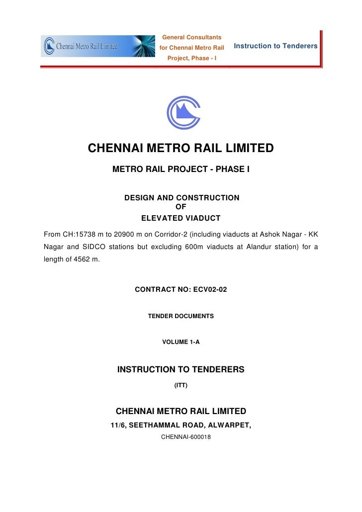 General Consultants                                 for Chennai Metro Rail   Instruction to Tenderers                     ...