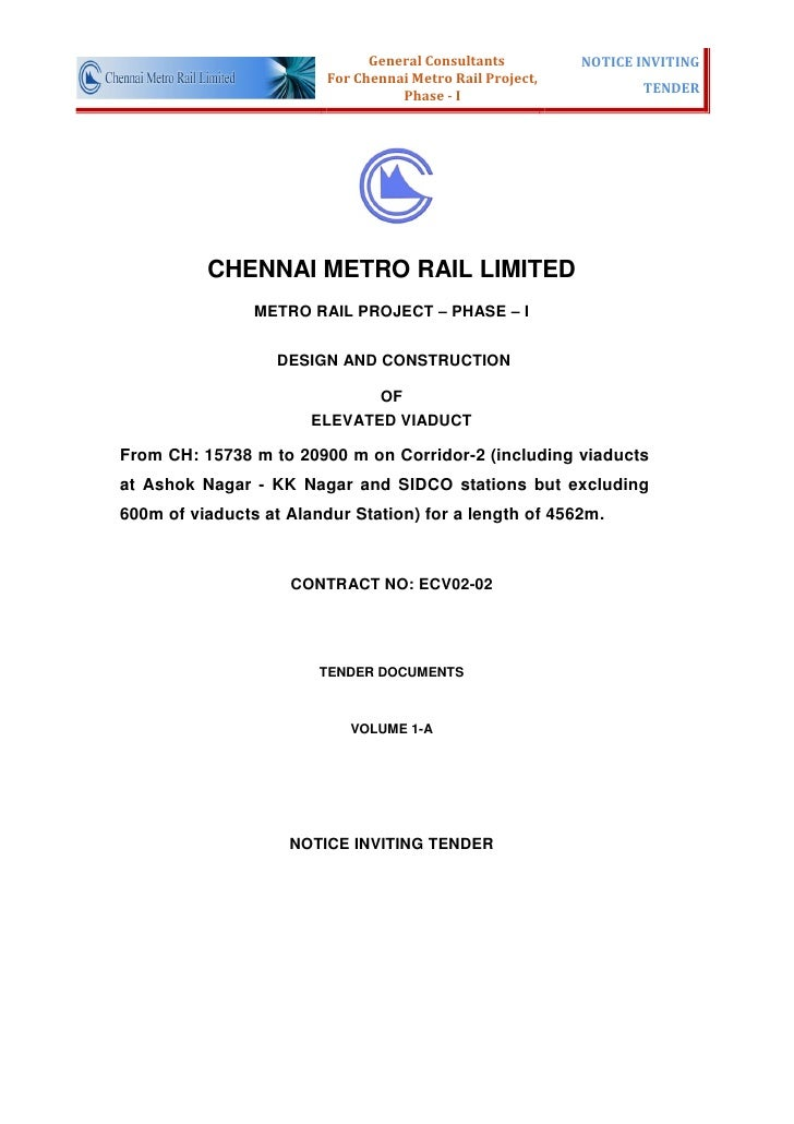 General Consultants         NOTICE INVITING                         For Chennai Metro Rail Project,                       ...
