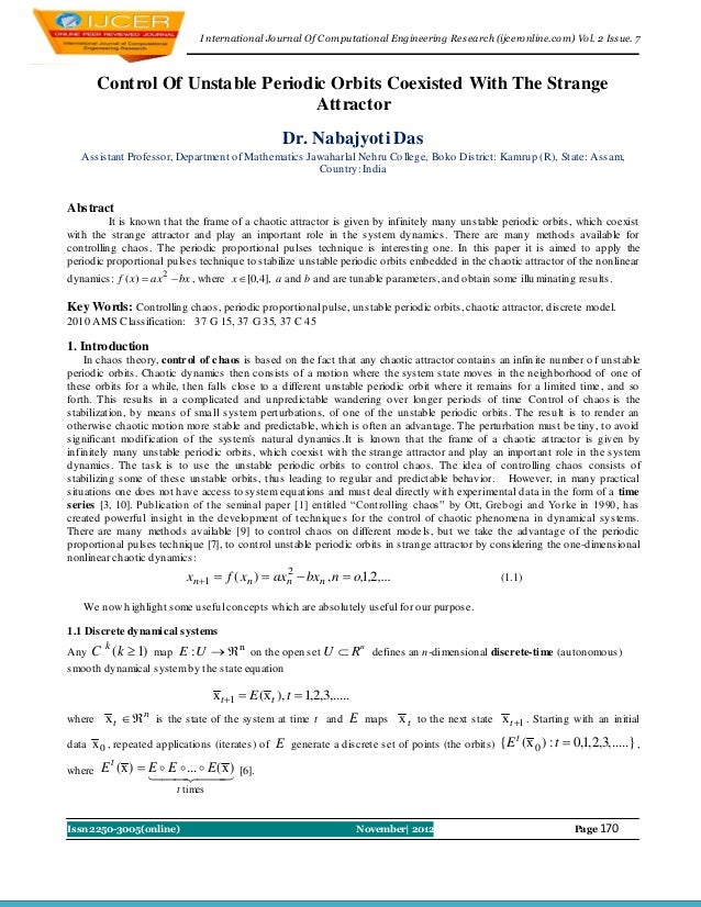 I nternational Journal Of Computational Engineering Research (ijceronline.com) Vol. 2 Issue. 7        Control Of Unstable ...