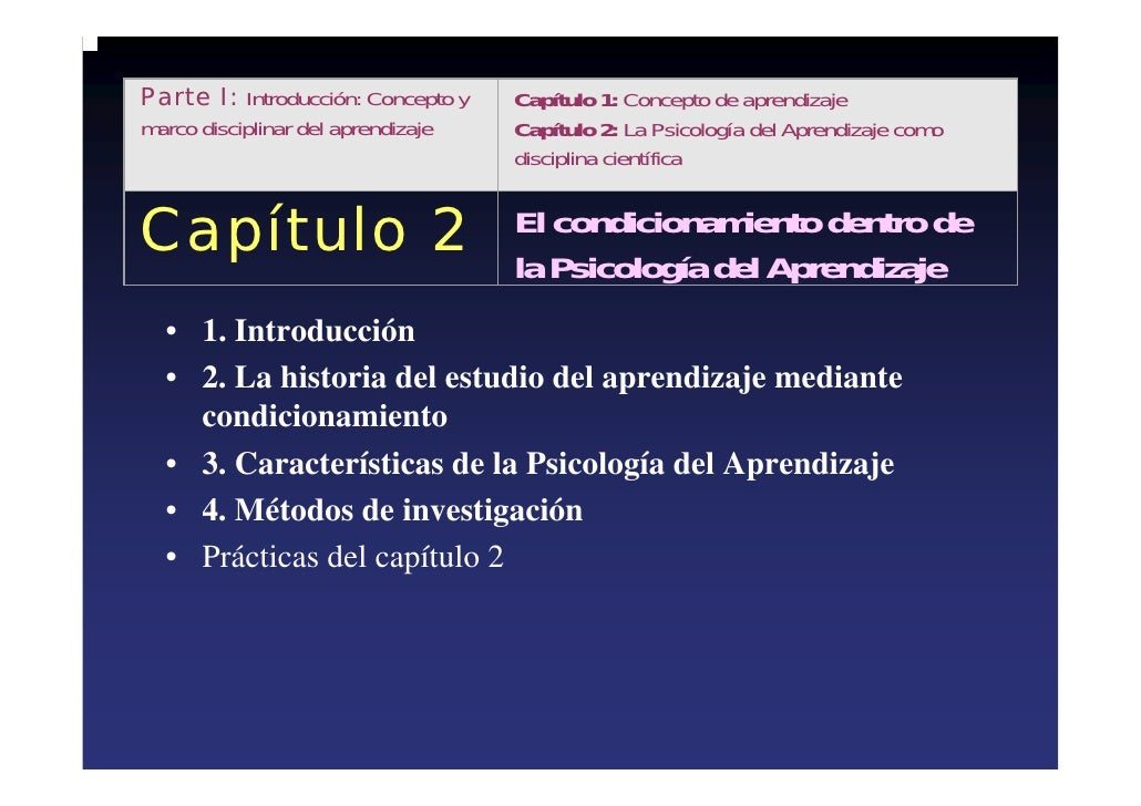 Parte I: Introducción: Concepto y   Capítulo 1: Concepto de aprendizaje marco disciplinar del aprendizaje   Capítulo 2: La...