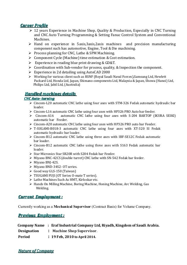Sample Of Cnc Programmer Resume Objective Arojcom  Cnc Programmer Resume